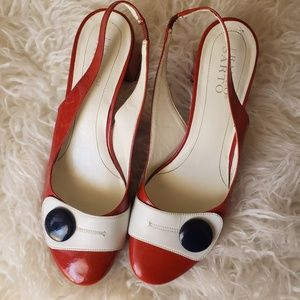 Franco Sarto Red & White Sandals